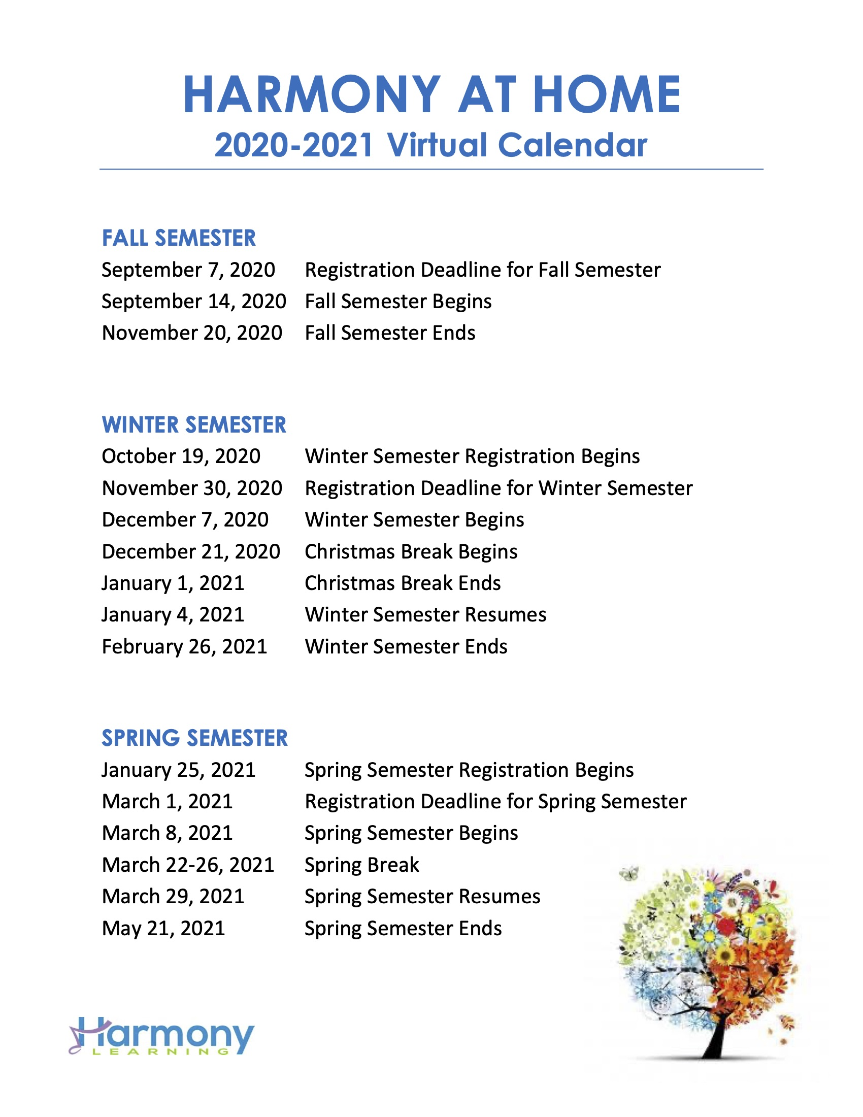 2020-2021 Virtual Calendar